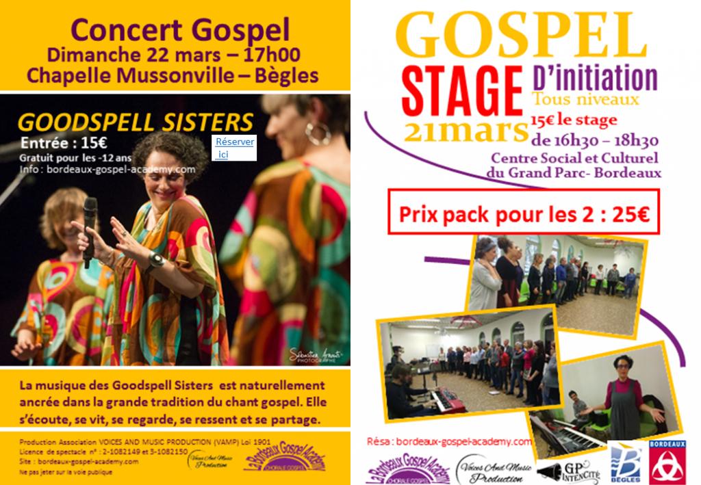 Stage initiation gospel et Concert Goodspell Sisters